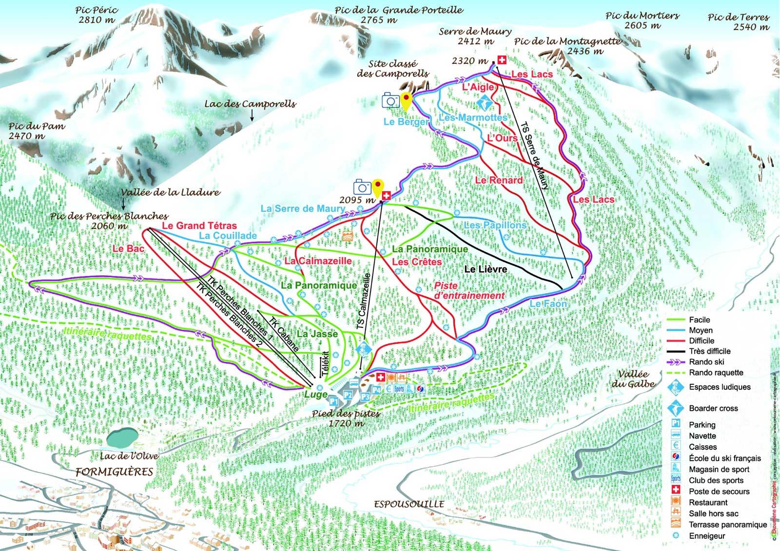 Plan des pistes, Station de Formigueres